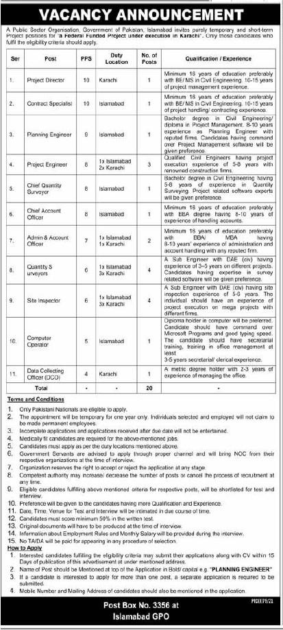 Public Sector Organization Jobs 2021 in Islamabad, Karachi