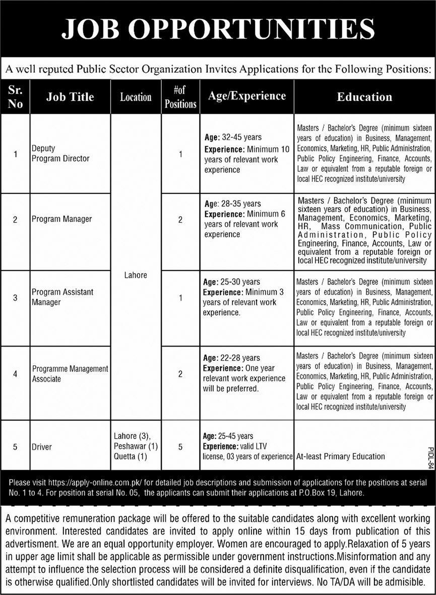 Public Sector Organization Lahore PO Box No 19 Jobs 2021