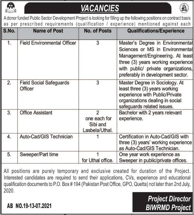 Public Sector PO Box 194 Quetta Jobs 2021