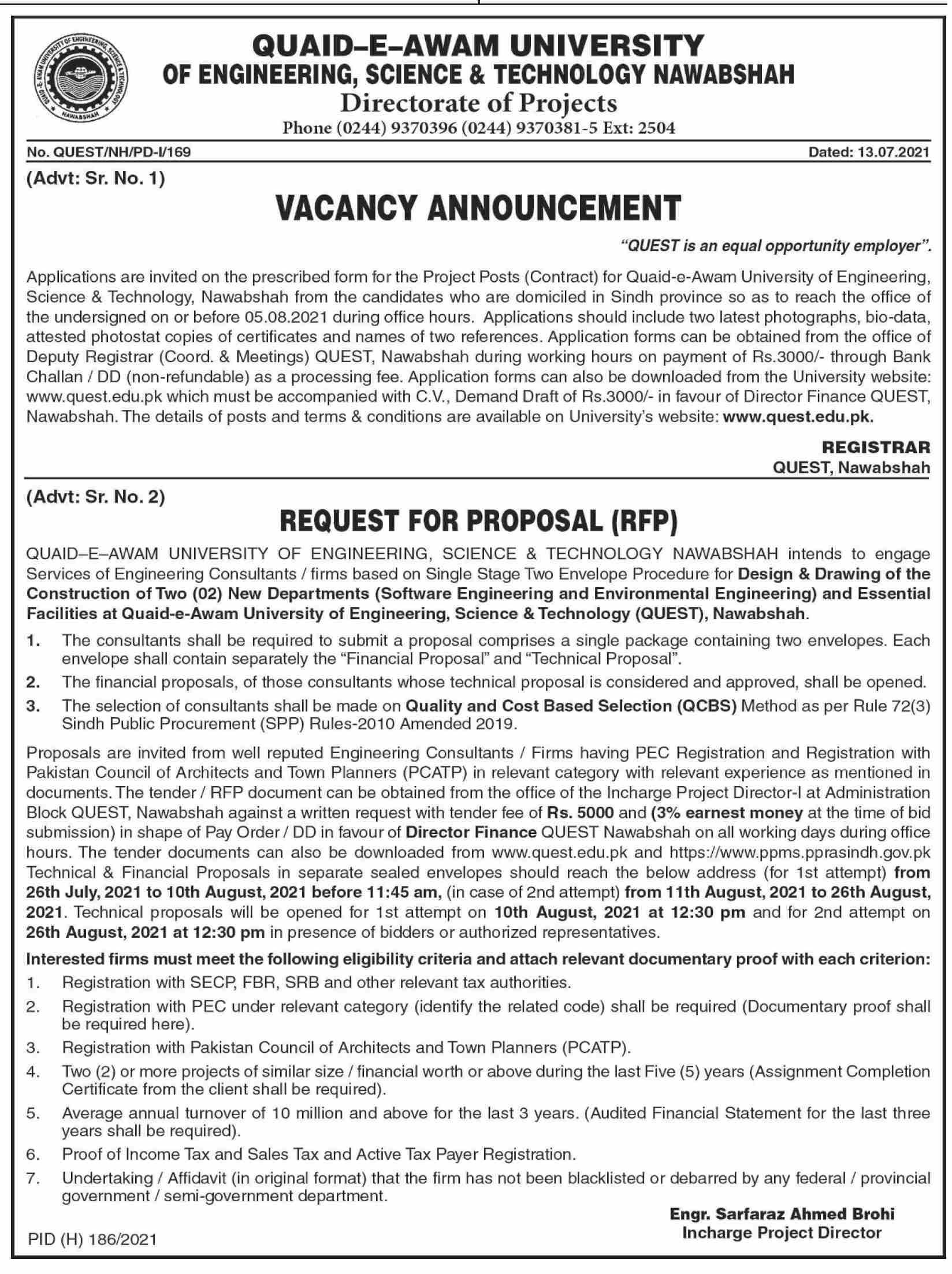 Quaid a Awan University Nawabshah Jobs 2021 in Pakistan