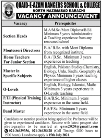 Quaid e Azam Rangers School Karachi Jobs 2021