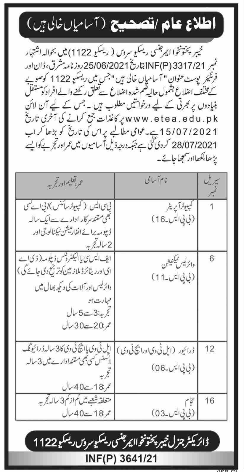 Rescue 1122 Jobs 2021 KPK Online Apply 349 Vacancies