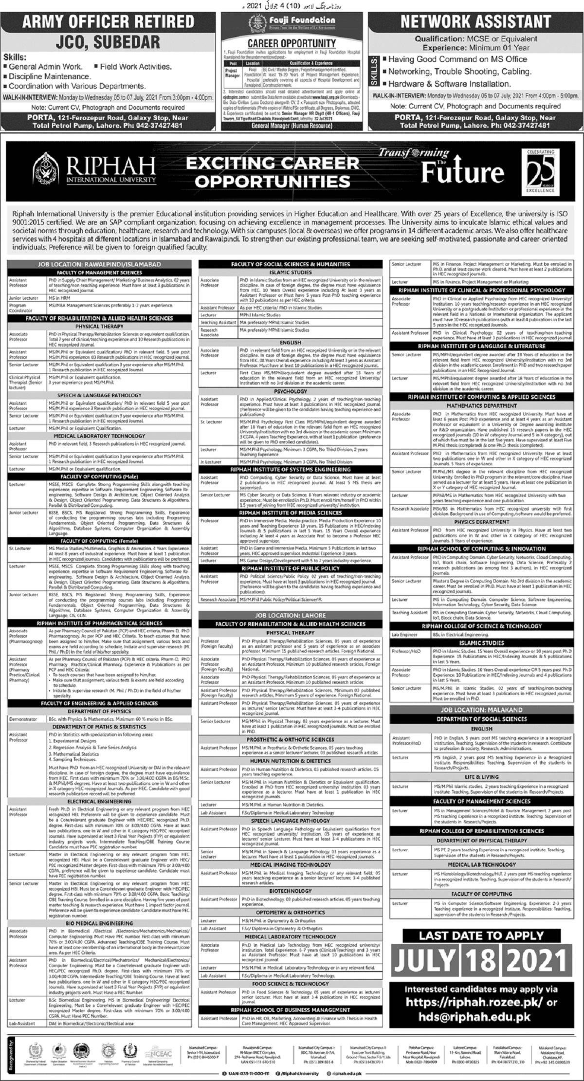 Riphah International University Jobs 2021 for Teaching