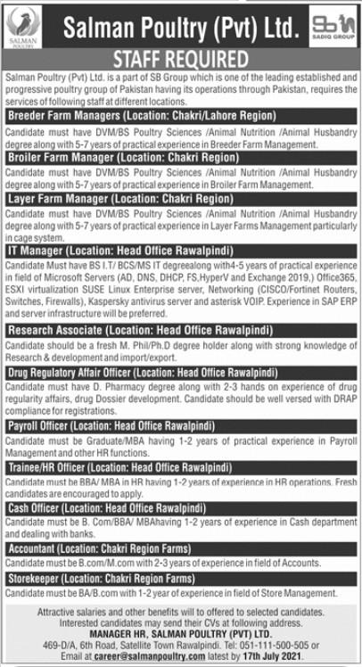 Salman Poultry Private Ltd Jobs 2021
