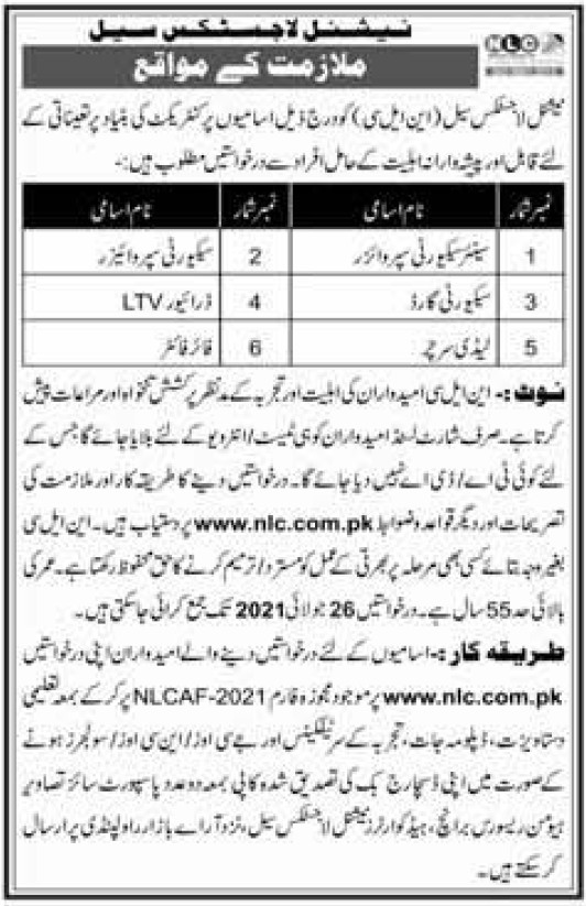 Senior Security Supervisor Jobs 2021 in National Logistics Cell Nlc