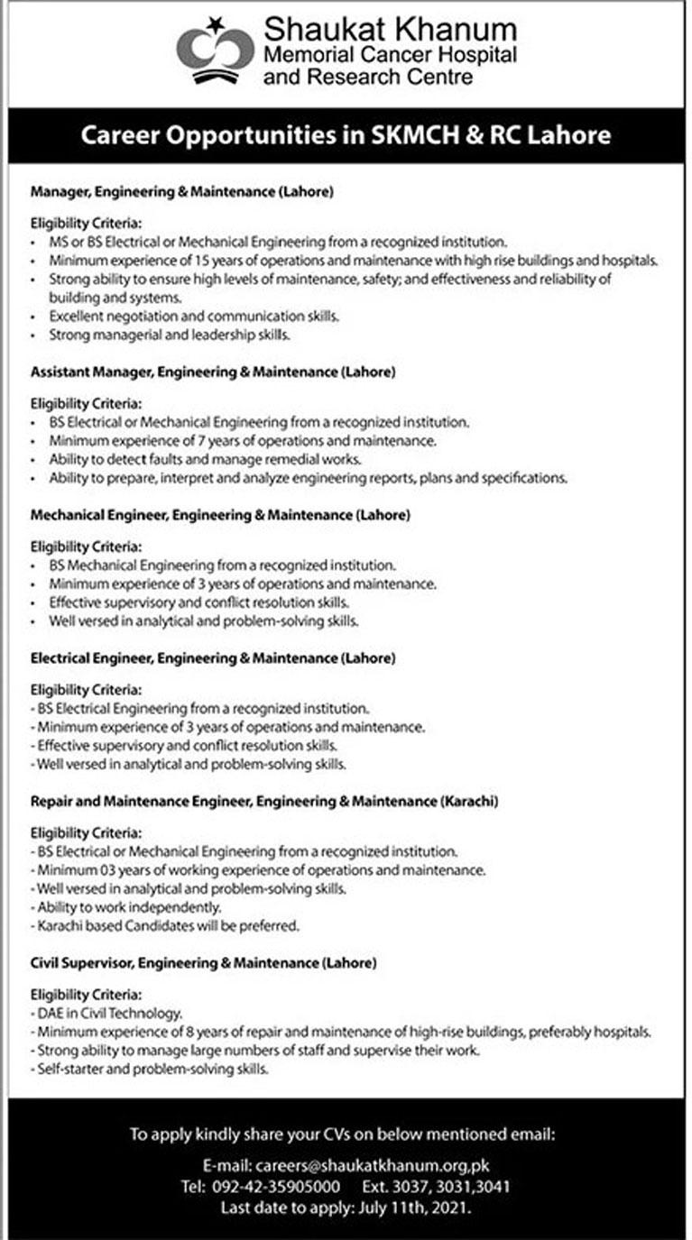 Shaukat Khanum Hospital Lahore Jobs 2021 Online Apply