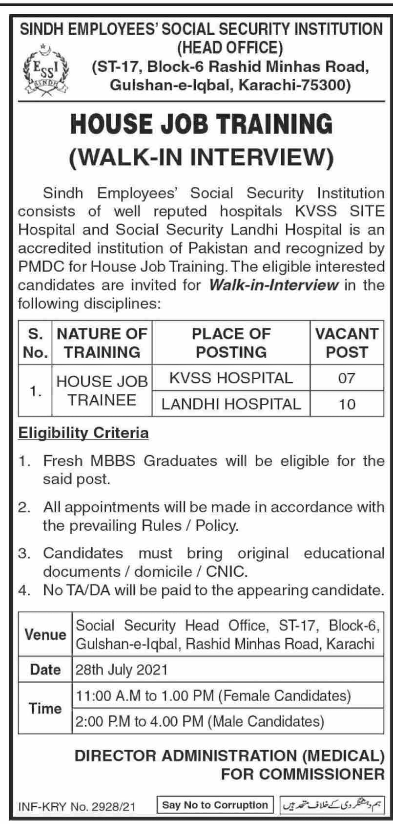 Sindh Employees Social Security Institution SESSI Latest Jobs 2021