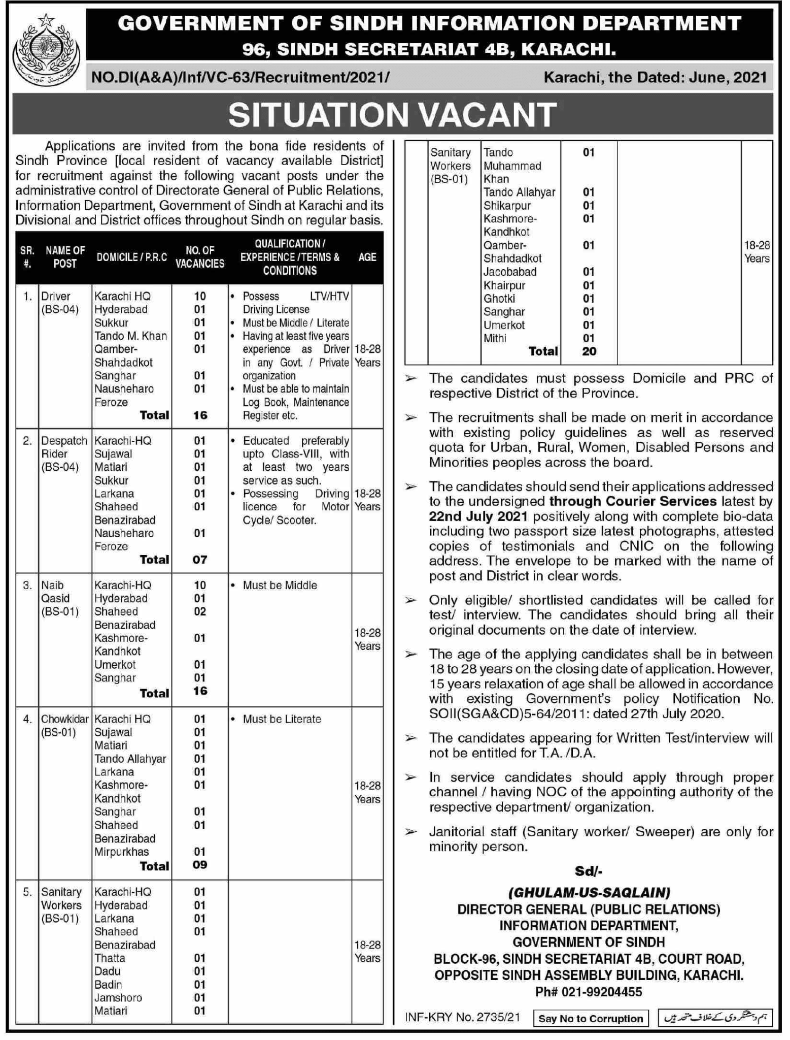 Sindh Information Department Government Jobs June 2021
