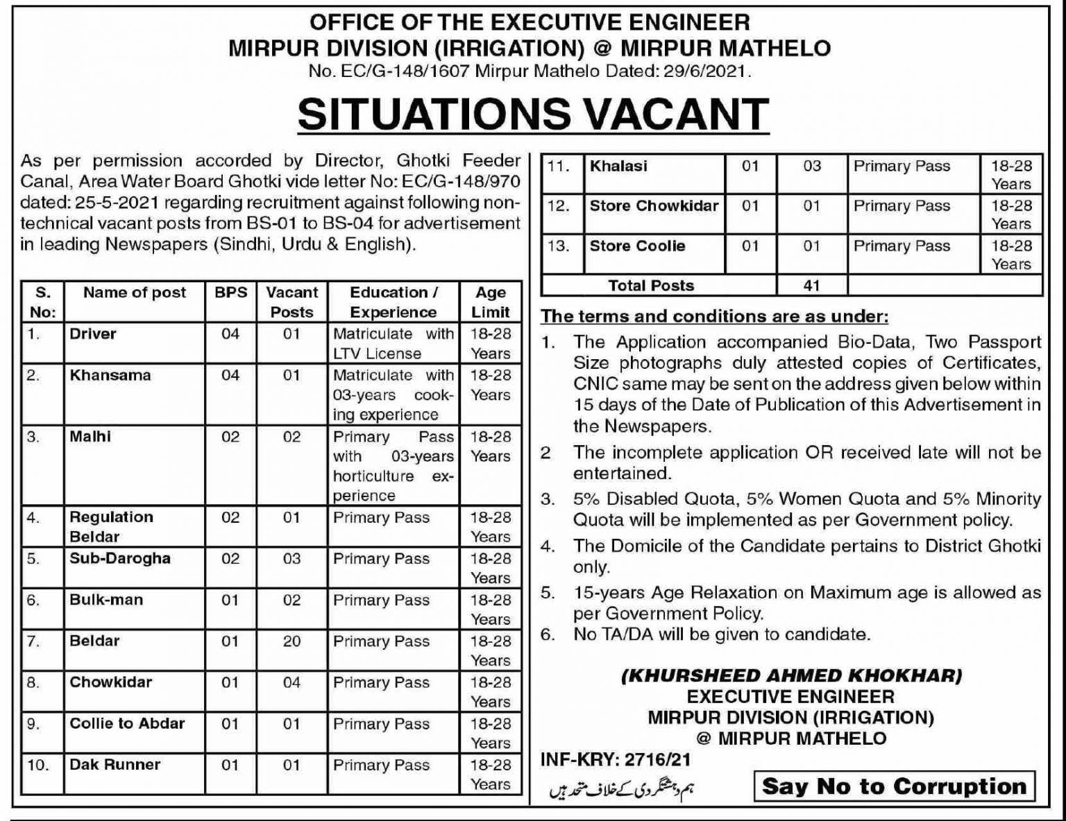 Sindh Irrigation Department Miirpur Mathelo Jobs 2021 Latest Govt Jobs
