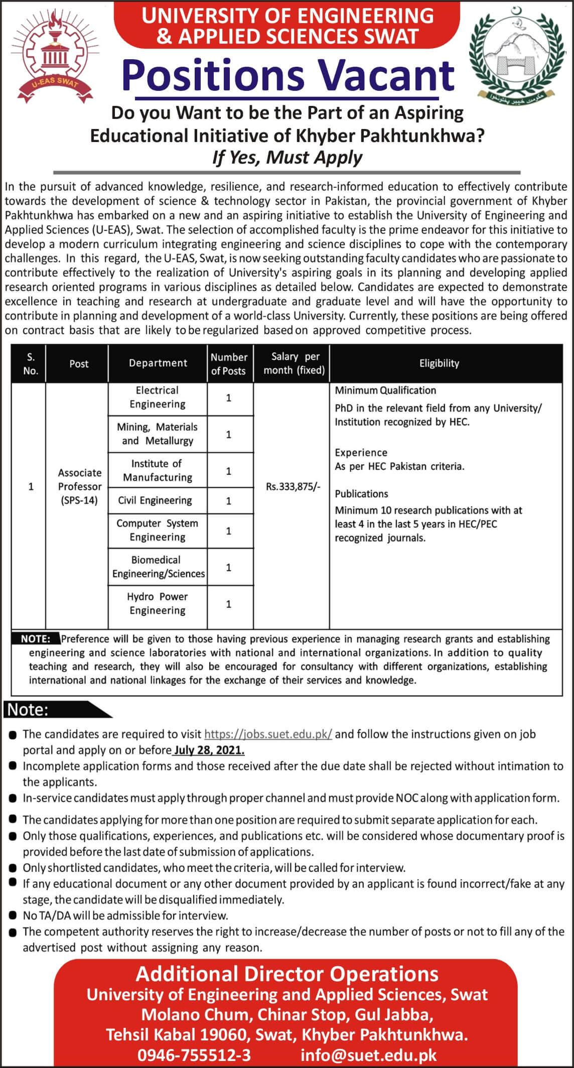Swat University of Engineering and Technology Jobs 2021  KPK Advertisement