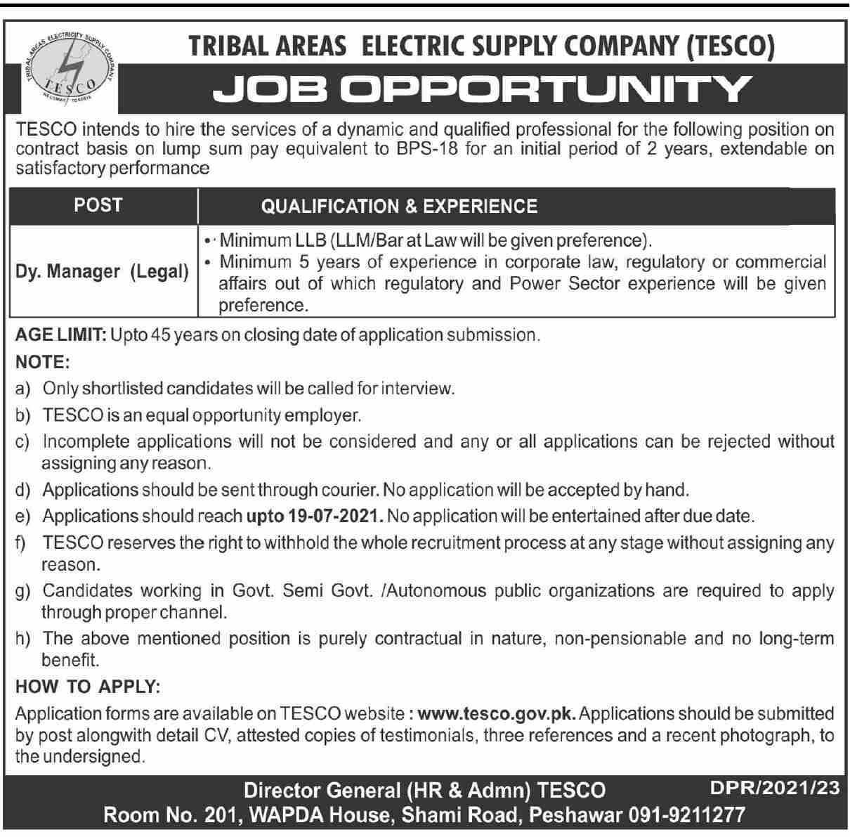 TESCO Jobs 2021 Tribal Area Electric Supply Company
