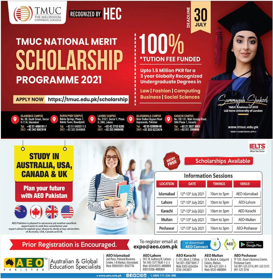 TMUC National Merit Scholarship Programme 2021
