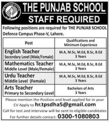 The Punjab School Staffing Jobs in Lahore
