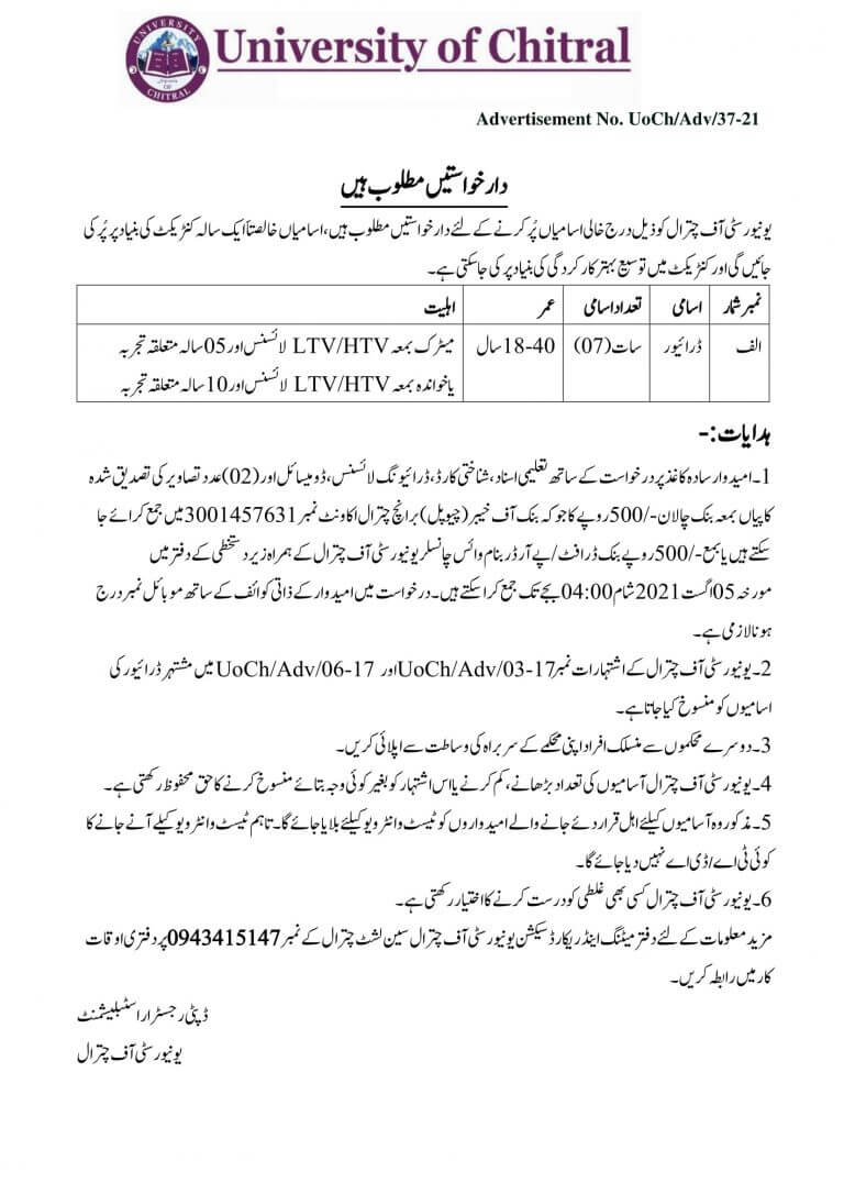University of Chitral Driver Jobs 2021
