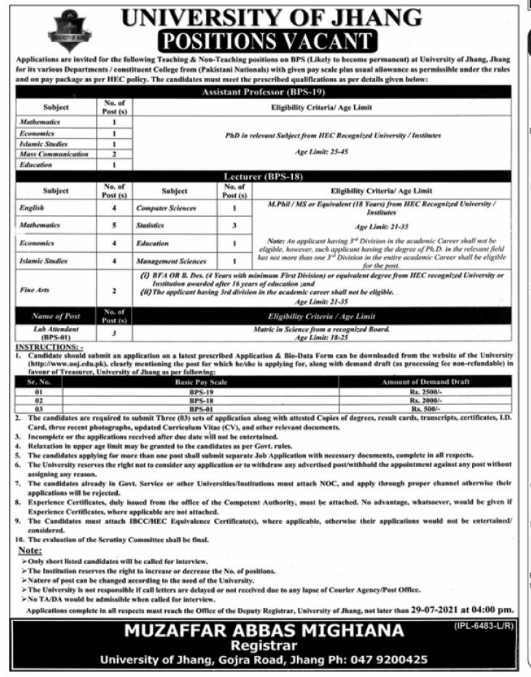 University of Jhang UOJ Jobs 2021 Download Application Form