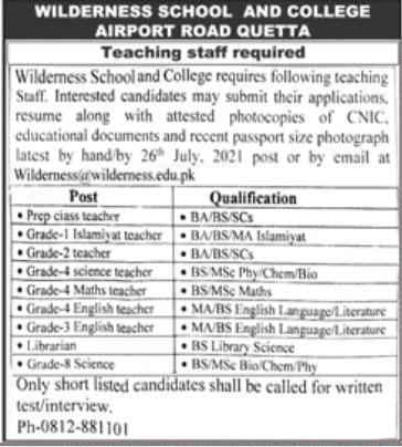 Wilderness School and College Quetta Jobs 2021 Online Apply